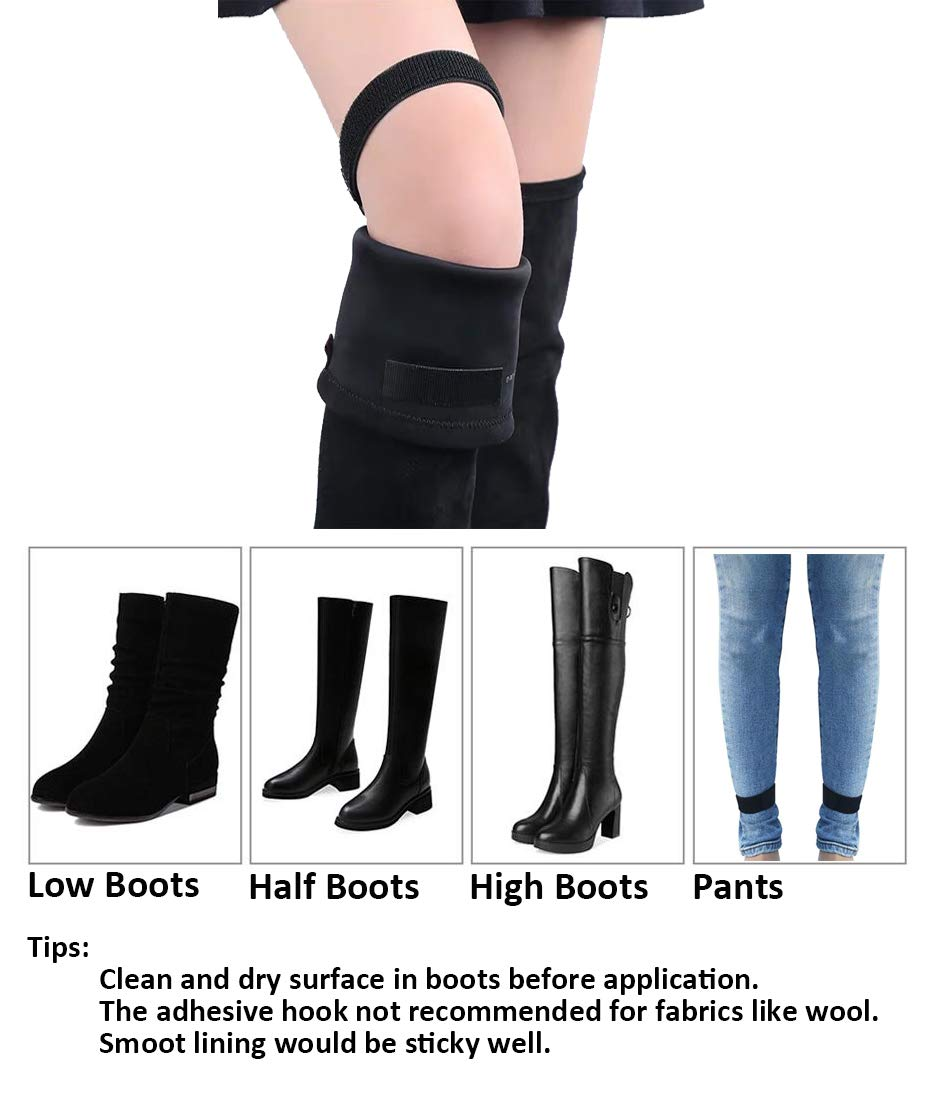 Anitor 4 pcs Knee Boots Straps with 20 pcs Elastic Adjustable Boots Keeper Straps Keep Boots no Fall Off /& Hold Pants Down in Boots