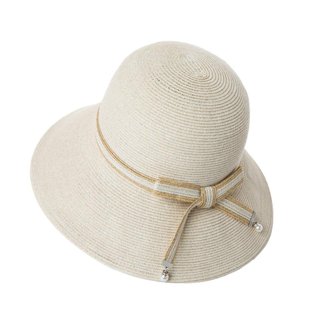 女性の夏のビーチ帽子麦わら帽子太陽の帽子休日休日太陽の帽子折りたたみ麦わら帽子を運ぶのは簡単  白 B07PPN6PPF