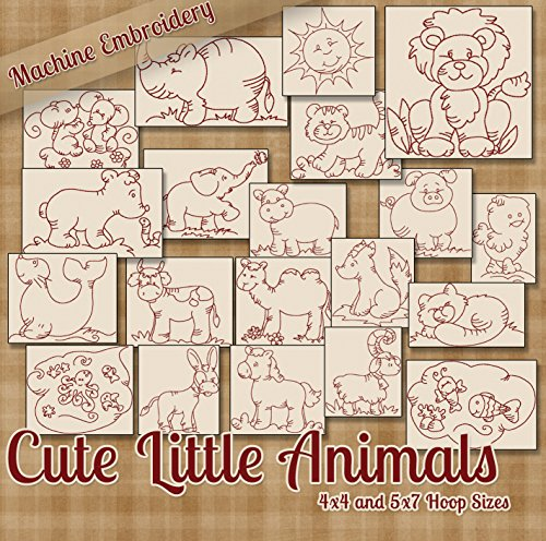 Cute Little Animals Redwork Machine Embroidery Designs on CD - 20 Designs in DST HUS PES SEW VIP XXX Formats