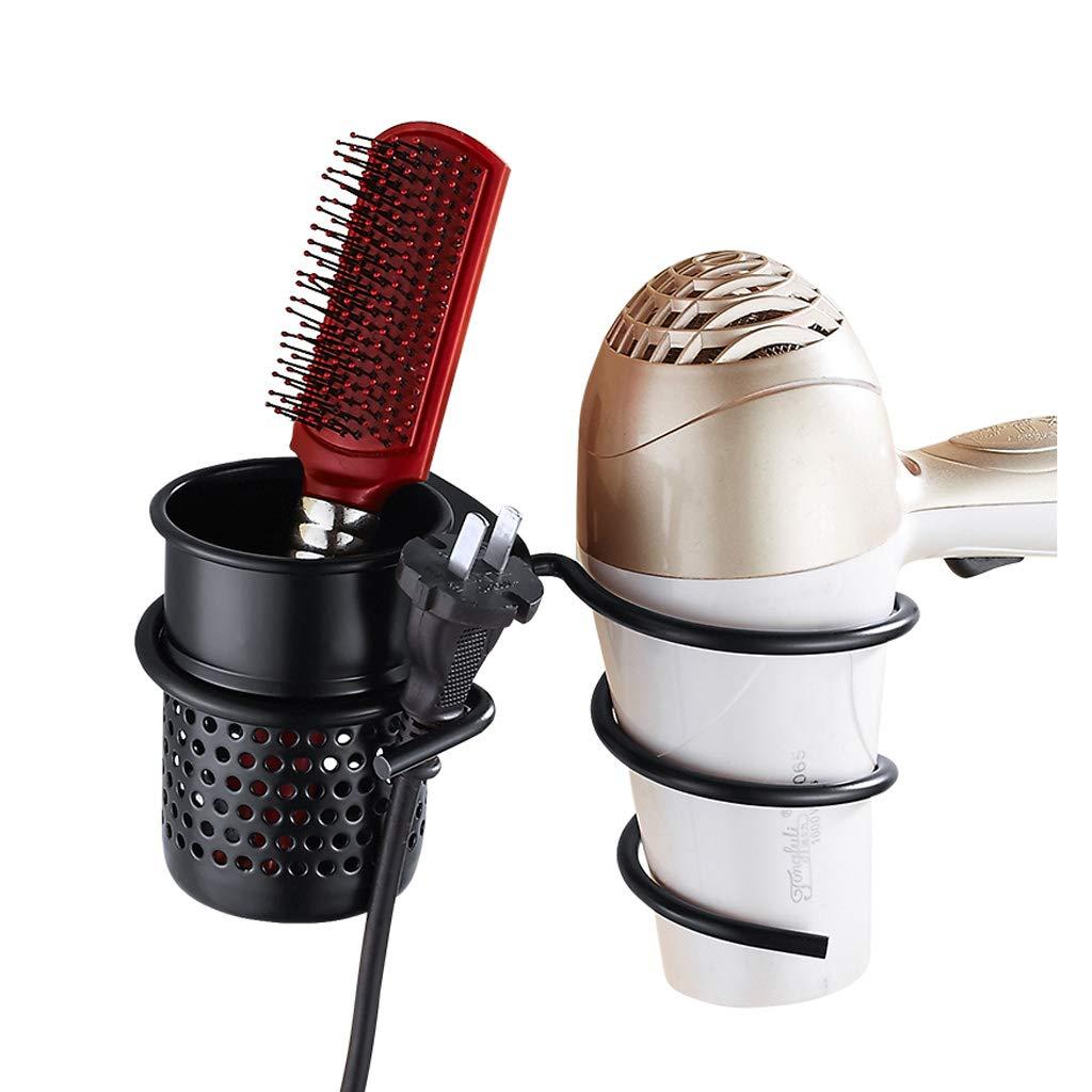 BETTY Supporto del fon, supporto di alluminio del supporto del toothbrush del supporto del raddrizzatore di alluminio fissato al muro per il bagno hotel del bagno, Nero,Nessuna perforazione