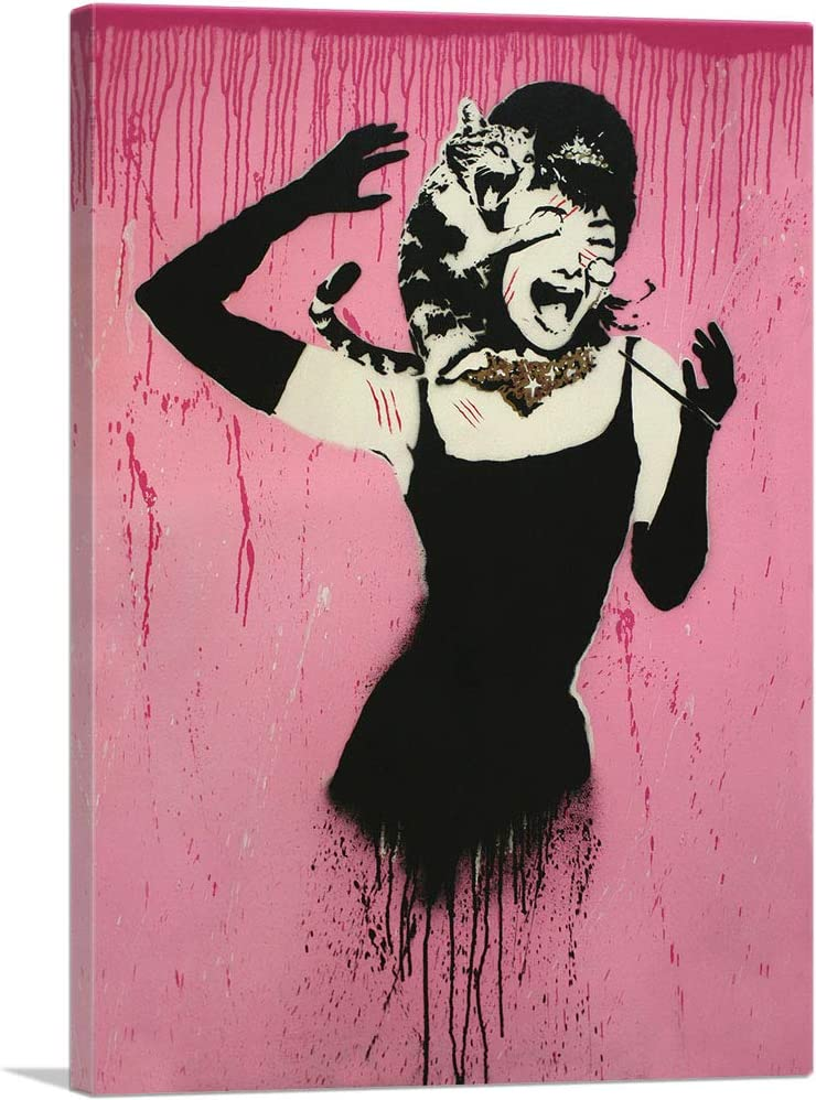 Audrey Hepburn Cat Attack  Brown Banksy Mounted /& Framed Print