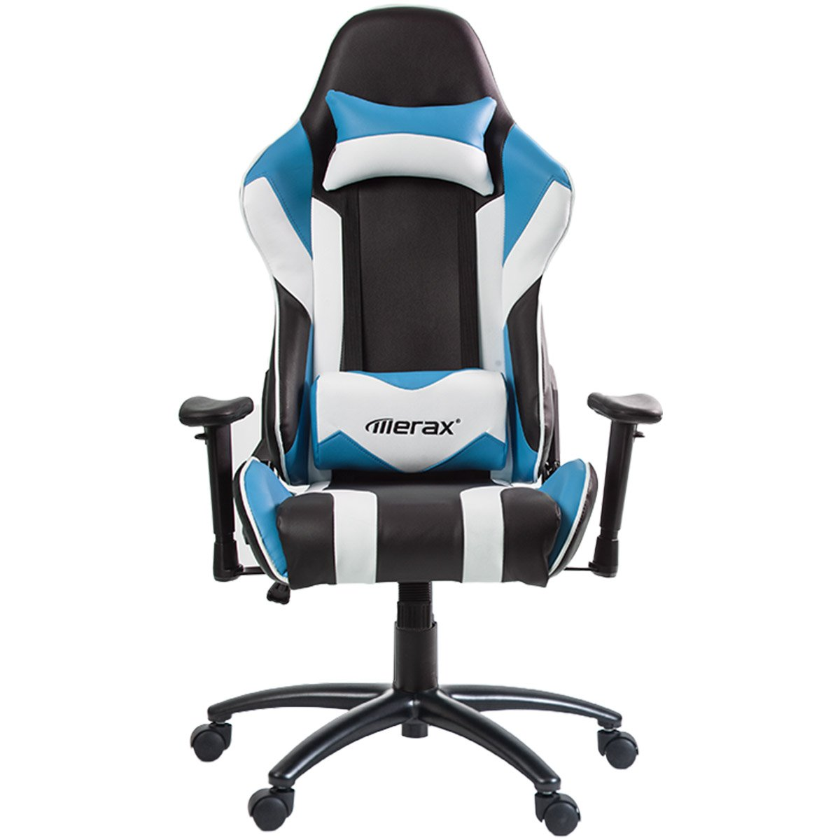 Merax High Back Racing Style Gaming Chair Metal Frame with Lumbar Support and Headrest (Blue)