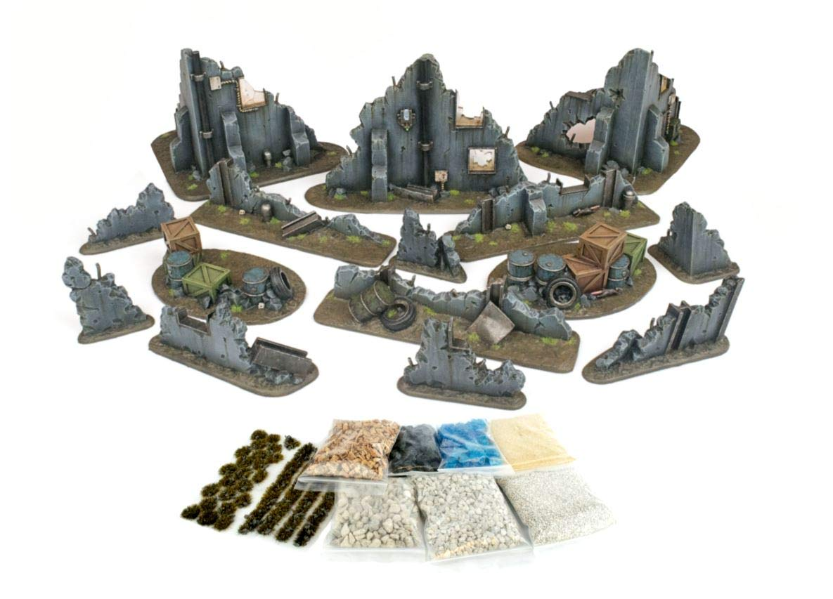 WWG War Torn City - Ruined Buildings, Barricades and Rubble Set with Scenery Materials – 28mm Terrain Warhammer Scenery 40K