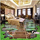 LHDLily Custom Stereo Lotus Pool Wooden Walkway Floor Painting Self-Adhesive Floor Wallpaper 400cmX300cm