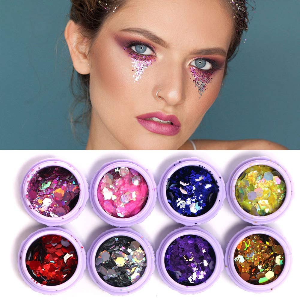 Ofanyia 8 Colos Eye Shadow Glitter Sequins Iridescent Flakes Shimmer Chunky Glitter Paillette Makeup for Face Body Hair Nails
