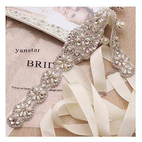 Yanstar Handmade Crystal Bridal Belts White Sashes Wedding Belt With Rhinestones For Wedding Bridesmaid Dress (Silver-White)