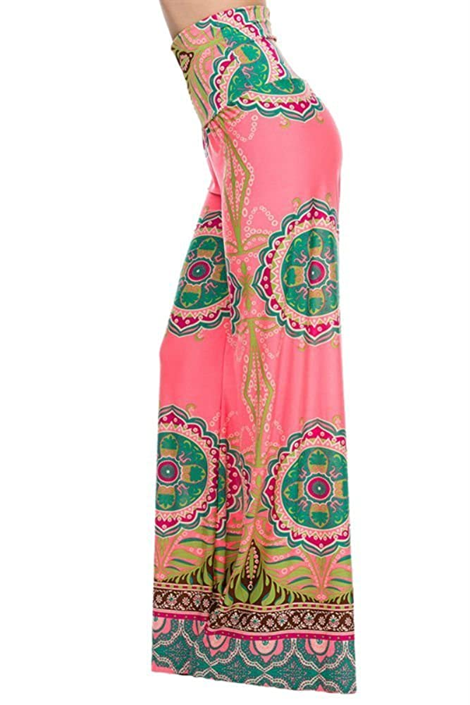 bb66c9c038a Uptown Apparel Womens Fold Over Waist Wide Leg Palazzo Pants (Pink  Tropical
