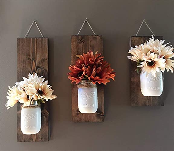 Amazon rustic wood wall sconce floral wall sconce set mason rustic wood wall sconce floral wall sconce set mason jar wall sconce mightylinksfo