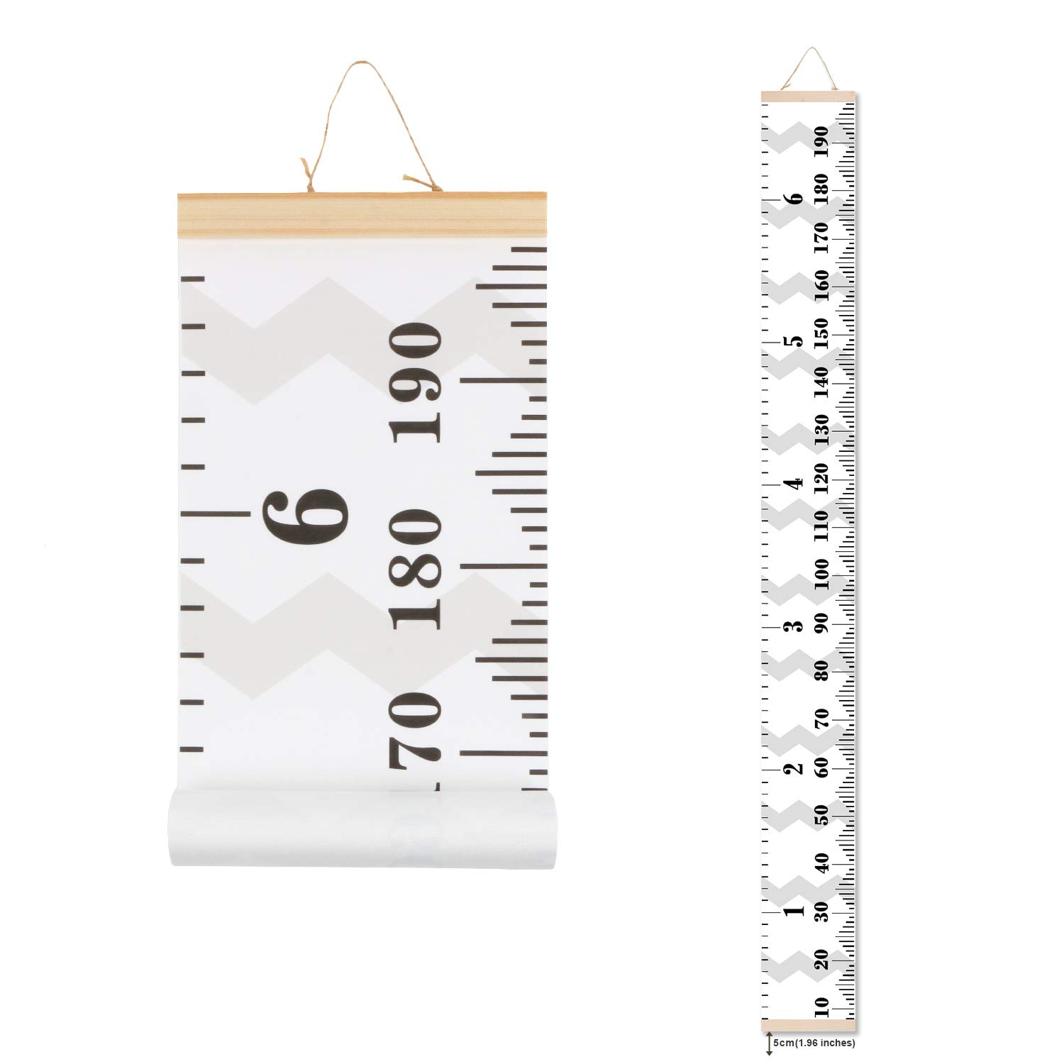 Scotamalone Growth Chart, Children Canvas Height Chart, Hanging Ruler, Wall Dector for Nursery Room,Easy to Draw & Record, Precious Gift for Kids Children (79inches x 7.9inches) GC-Z5G1211