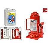 Vetrineinrete® Cric idraulico a bottiglia con portata di 12 tonnellate sollevatore per auto in valigia C15
