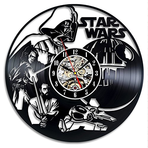 Star Wars Vinyl Record Wall Clock - Decorate your home with Modern Art - Gift for men and women, girls and boys - Win a prize for a feedback
