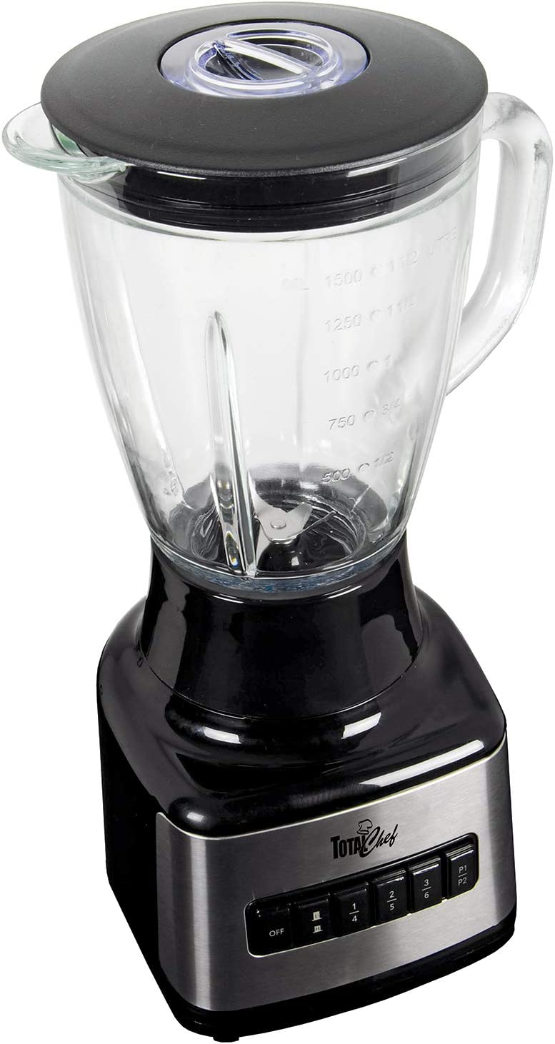 Total Chef TCB15 500 Watts 8-Speed Stand Blender with Glass Pitcher (1.6 Quarts/1.5 Liters), Countertop, Black/Gray