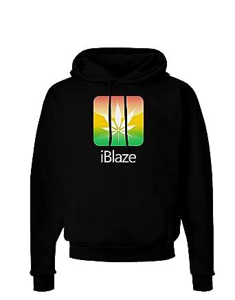 iBlaze Logo - Marijuana Leaf Dark Hoodie Sweatshirt - Black - Medium