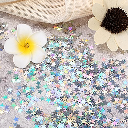 Star Table Confetti - Star Confetti Holographic Stars Glitter Confetti, Great for Party Decoration, Wedding Supplies and Nail Art, Pack of 50g (Size- 6mm)