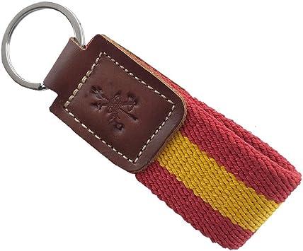 LGP - Llavero La Legión Bandera de ESPAÑA de Lona Elastica Anilla Acero INOX Cuero Marron: Amazon.es: Equipaje