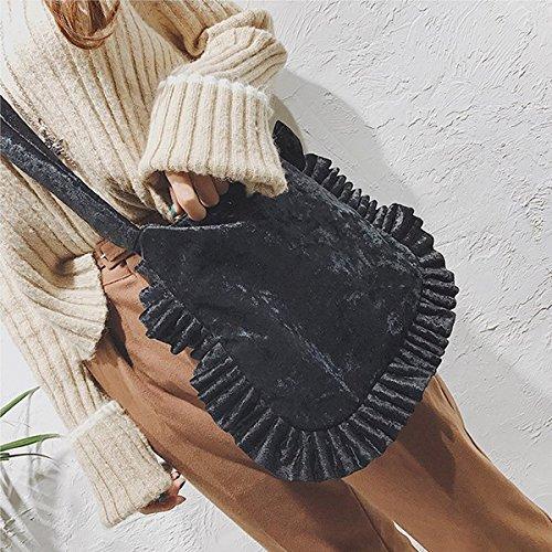 Ruflled Vintage Bag Edge Tote Felice Velvet Retro with Large Shoulder Crossbody Black Purse Handbag wtPZ6