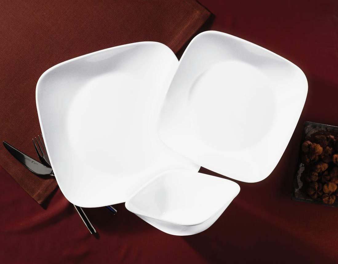 Amazon.com | Corelle Square Pure White 18-Piece Dinnerware Set Service for 6 White Corelle Dishes Dinnerware Sets & Amazon.com | Corelle Square Pure White 18-Piece Dinnerware Set ...