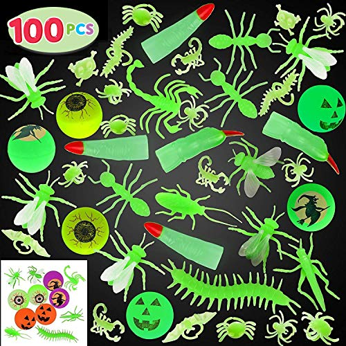 JOYIN 100 Pieces Halloween Glow in The Dark Bugs and Toys Glow Bugs, Plastic Bugs, Glow Bug Rings , Glow Bouncy Balls and Witch Fingers for Halloween Party Favors and Decorations -