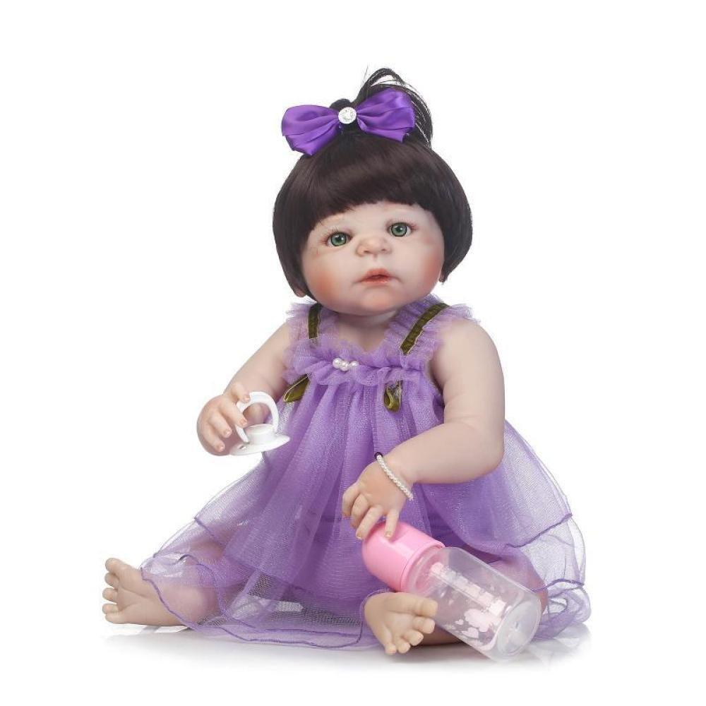 """QXmEi 22 """" 57 cmパープルドレスRebornベビーガール人形フルシリコンボディReallyタッチリアルなRebornベビー人形Realistic新生児赤ちゃん人形   B07DN5D2XC"""