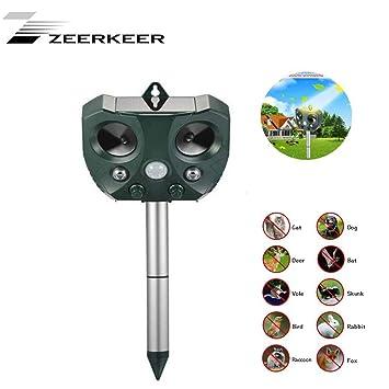 ZEERKEER Ultrasonidos Ahuyentador de Animales y Plagas Repelente Ultrasónico con LED,Carga Solar,para