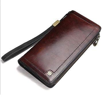 135ee55c9 Billetera, Cartera de Cuero para Hombre Bolso Largo de Embrague Monedero  Retro Ranura para Tarjeta