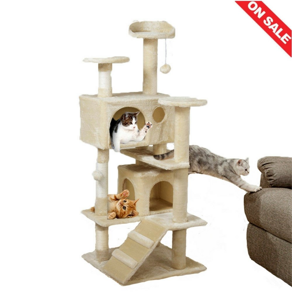 Cat Lounge Tree Kitty Bed Fleece Base Scratching Post Hanging Toy Indoor Relaxing Climbing Tower House Tree & Ebook by Easy 2 Find.