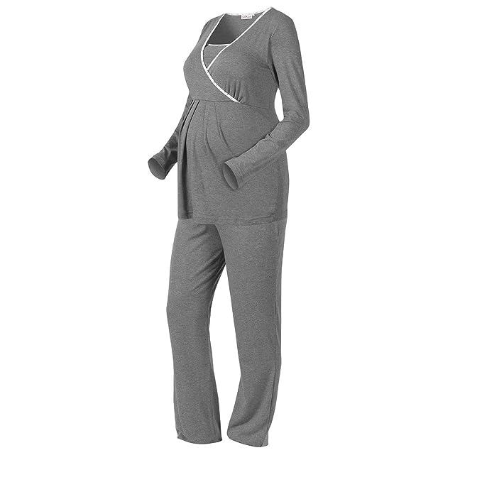 new concept 772ae 83d1e 2HEARTS Umstands- & Still-Pyjama We Love Basics/Umstandsmode  Damen/Stillschlafanazug Langarm/grau