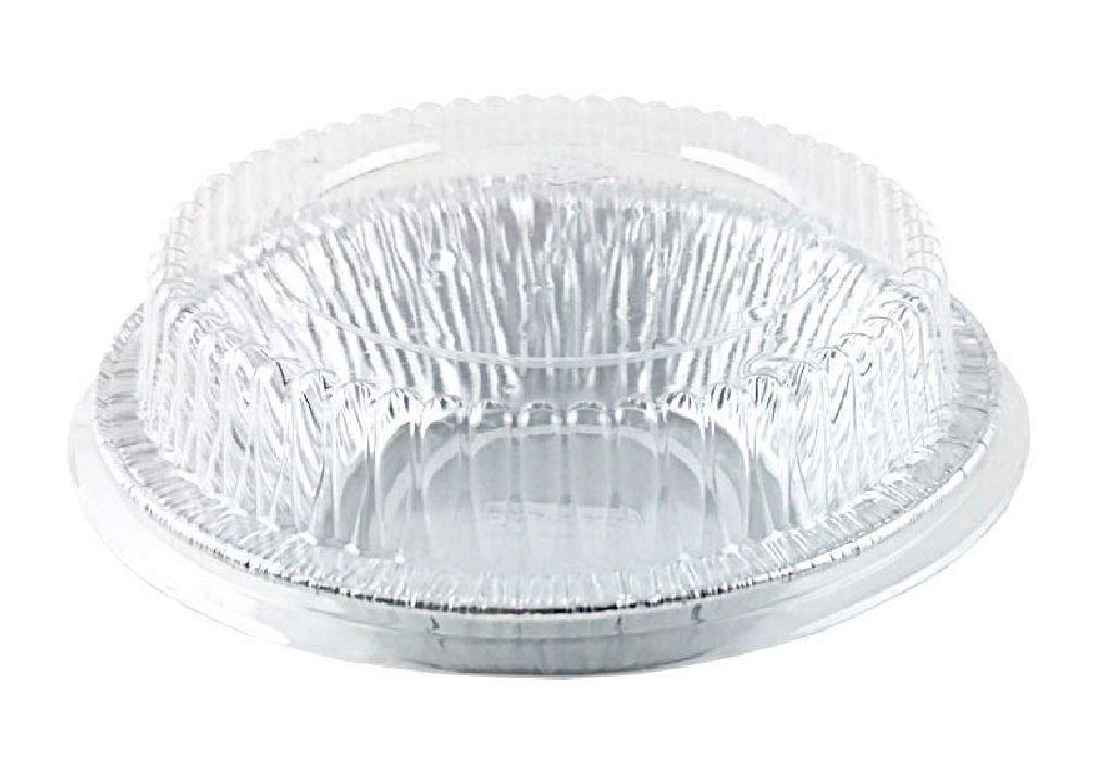 4 7/8'' Aluminum Foil Tart / Mini-Pie Pan w/Clear Plastic Dome Lids - Disposable