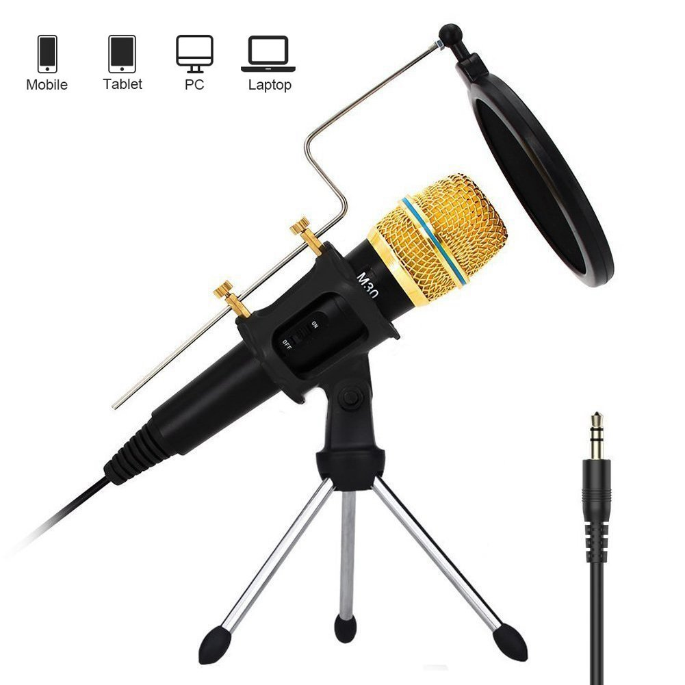 AusFeLin Professional Studio Condenser Microphone Recording Stand Computer PC Laptop iPhone Phone Android iPad Podcasting, Mini Microphones 3.5mm YouTube Singing Gaming (Black)