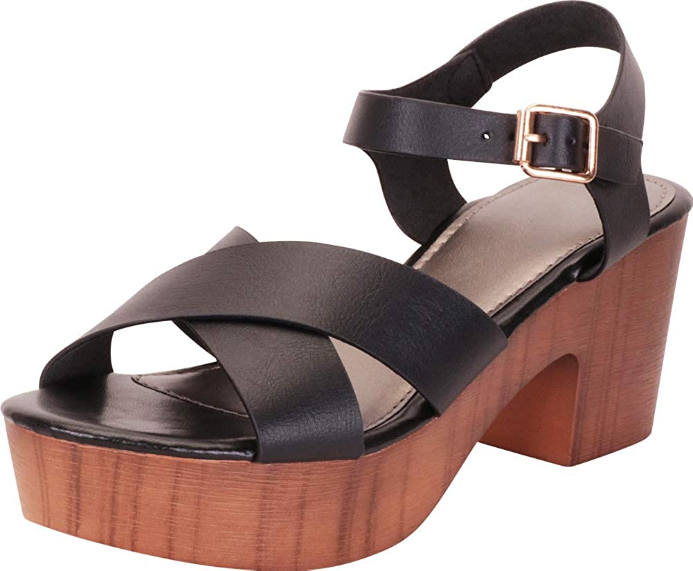 Black Pu Cambridge Select Women's Retro 70s Clog Crisscross Strappy Chunky Platform Block Heel Sandal