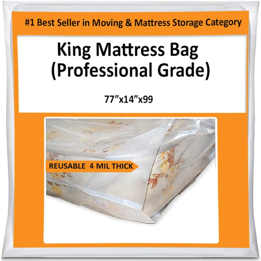 King Mattress Bag Cover for Moving Storage - Plastic Protector 4 Mil Thick Supply -Fits California King and Queen as Well