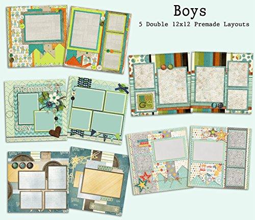 Boys Scrapbook Set - 5 Double Page Layouts