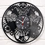 STEAMPUNK clock vinyl record OWL Mechanic gears Vinyl Wall Clock Retro Gothic Vintage Decor Recycled Gift Geometric Wall Art Handmade Decorative Mechanical Wall Decal Steampunk Furniture clock black Review