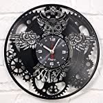 Vinyra Steampunk Owl Vinyl Record Clock - Industrial Wall Clock Gears Decor Retro Wall Gothic Grandfather Vinyl Gift Victorian Wall Decal Steampunk Novelty Owl Vinyl Clock Black 6