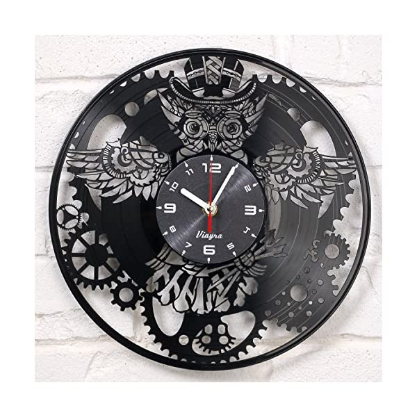 Vinyra Steampunk Owl Vinyl Record Clock - Industrial Wall Clock Gears Decor Retro Wall Gothic Grandfather Vinyl Gift Victorian Wall Decal Steampunk Novelty Owl Vinyl Clock Black 3