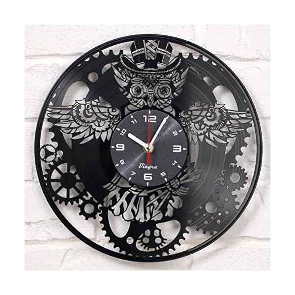 Steampunk Clock Vinyl Record OWL Mechanic Gears Vinyl Wall Clock Retro Gothic Vintage Decor Recycled Gift Geometric Wall… 3