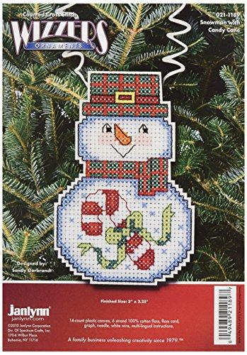 Janlynn Cross Stitch Kit, Snowman with Candy Cane
