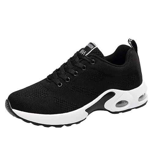 Logobeing Zapatos Mujer Zapatillas Deportivas Tejidas voladoras Zapatos de Cordones Casual Zapato de Malla de Estudiante
