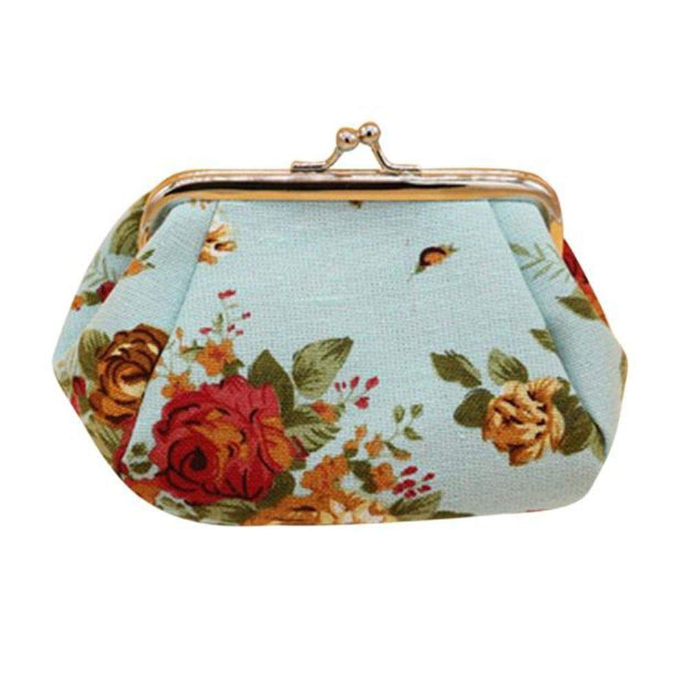 Vintage Women Bags,Womens Retro Flower Small Wallet Coin Hasp Purse Clutch Bag Card Holder Handbags Tote Bags Blue