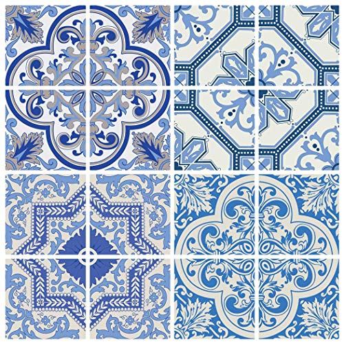 - RoyalWallSkins Moroccan Blue Tile Decals 4x4 Inch - Set of 16 - DIY Self Adhesive Peel and Stick Tile Stickers for Backsplash Bathroom Kitchen Home Decor (Coimbra TAD160611)