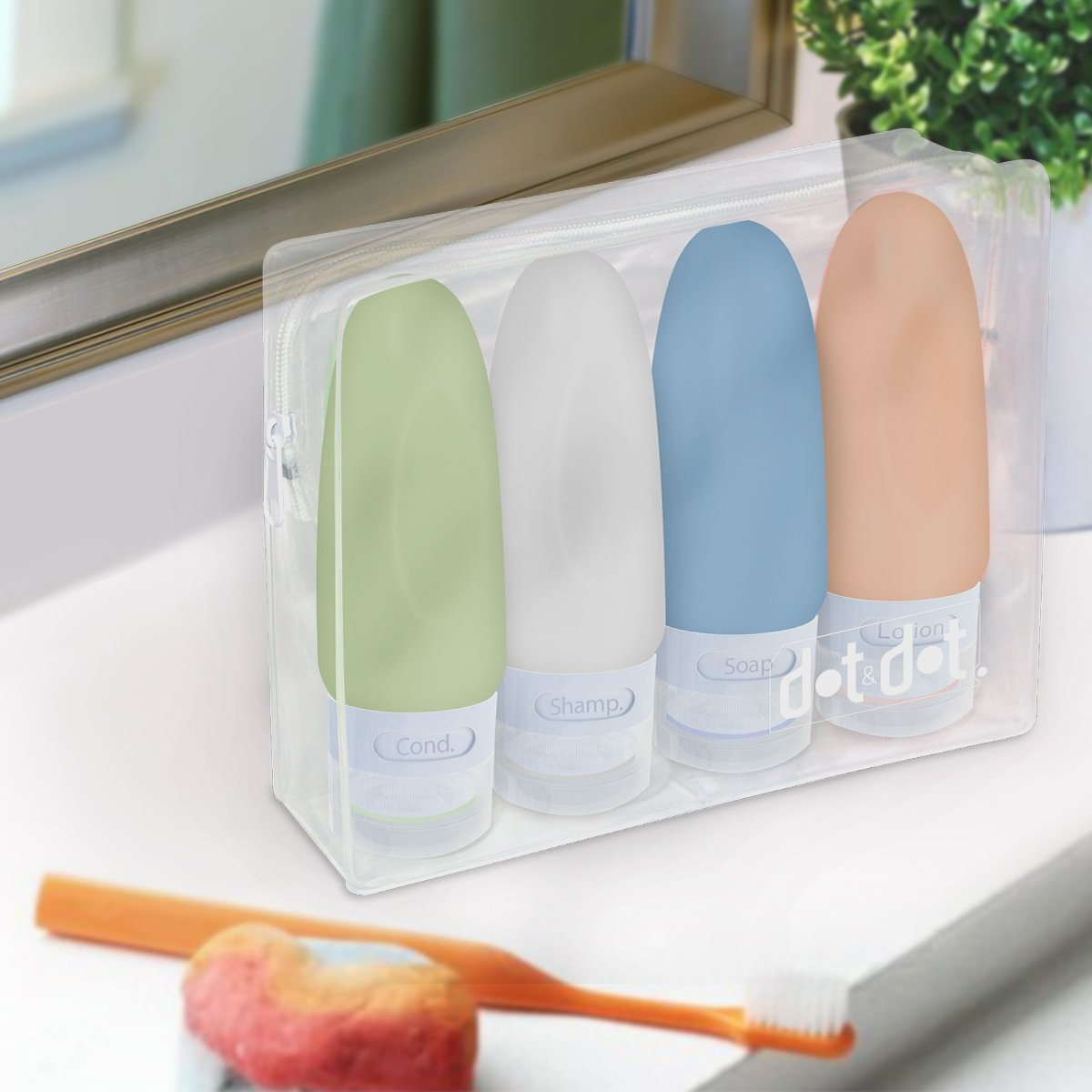 4 Leak Proof Travel Bottles - 3 oz Travel Containers for Travel Size Toiletries with TSA Quart Bag by Dot&Dot (Image #5)