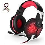 Headset Gaming PC PS4 ArkarTech Mikrofon Kopfhörer Gamer Ultra-leichtes Einstellbare Bass-Stereo Lautstärkenkontrolle LED-Licht für PC (Splitter Adapter frei für PS4, Laptops, Tablets und Smartphones) Rot