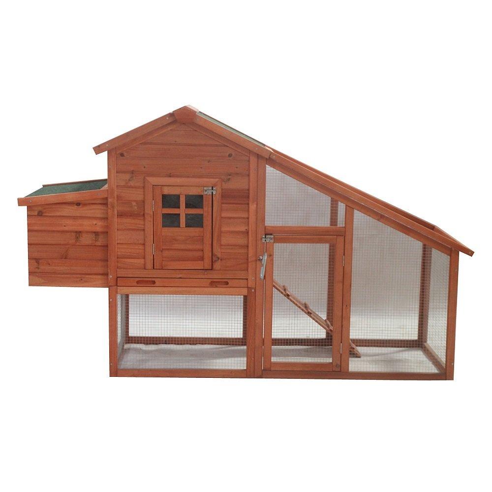 ALEKO ACCRH75X26X46 Wooden Pet House Chicken Coop Rabbit Hutch 75 x 26 x 46 Inches