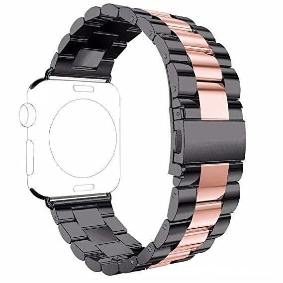 ded2ada11329c Watch Straps for Apple Watch, Stainless Steel Metal Band for Apple Watch  Series, SZjunling Adjustable Replacement Accessory Wristband (Black+Pink,  ...