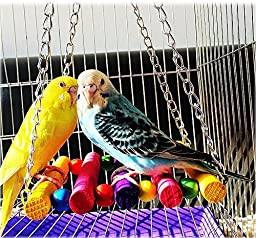 CocoGo Pet Bird Parrot Cage Toys Parakeet Budgie Cockatiel Hammock Hanging Toys, Swing Toy Chain 11\