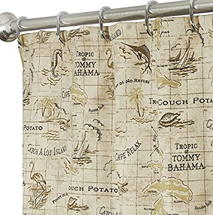 Extra Long Shower Curtains Tommy Bahama Nautical Fabric Brown Map 96 Inches
