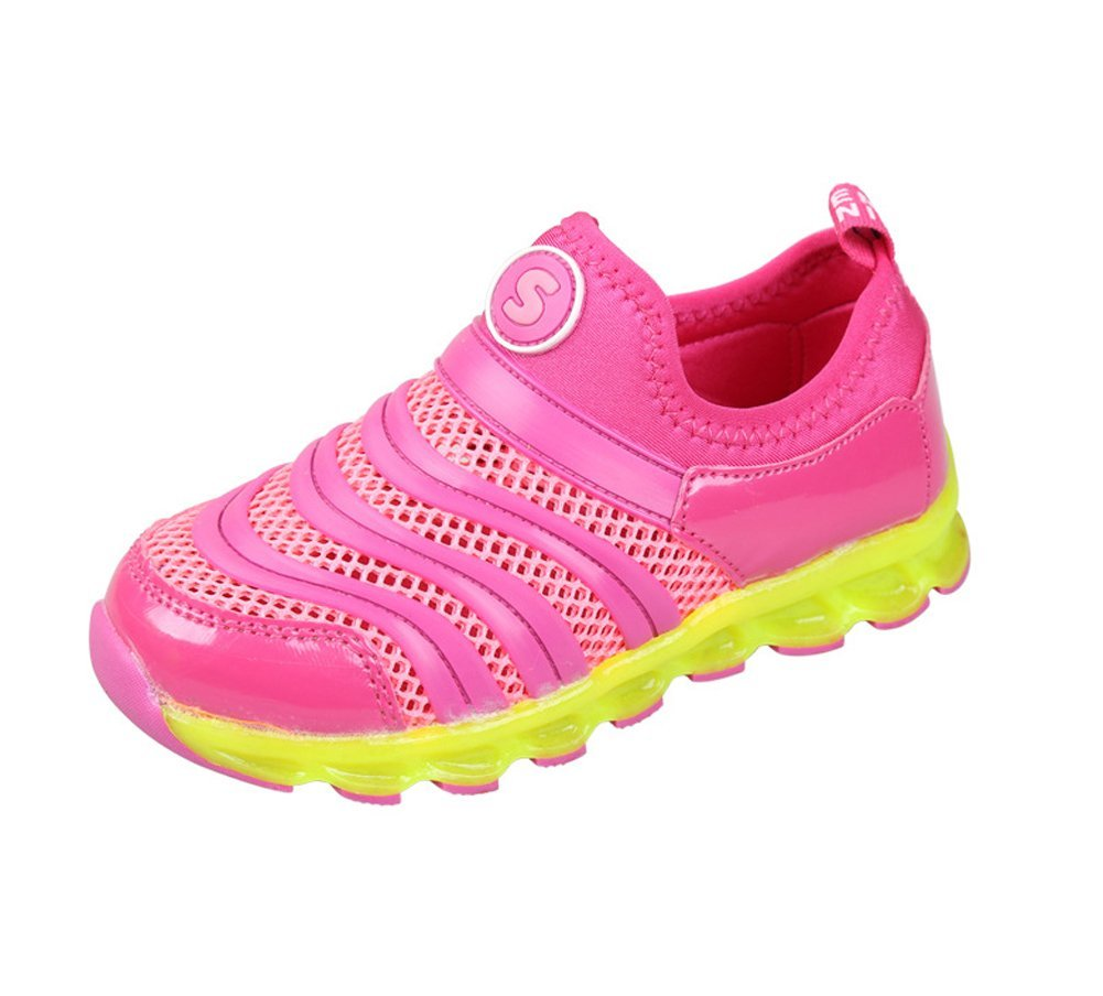 BININBOX Summer Kids Sneakers Boys Girls Mesh Flat Slip-On Breathable Shoes (11 M Little Kid, Pink)