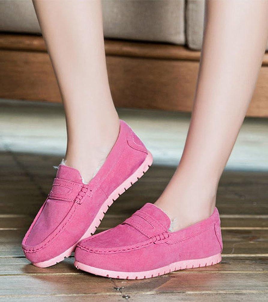 Dooxi Donna Inverno Caloroso Foderato Neve Stivali Moda Comfort Slip On Loafers Comfort Moda Piatto Scarpe da Barca  Pink dadb19