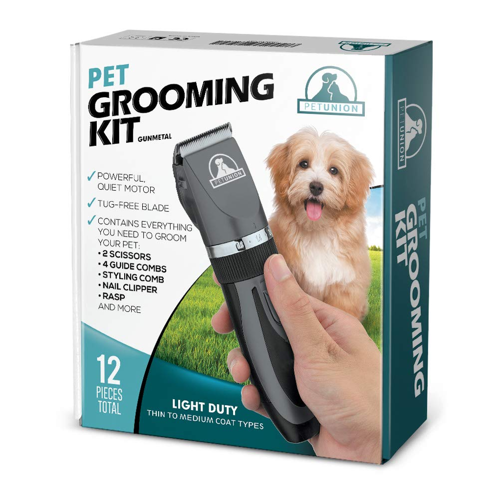 Pet Union Professional Dog Grooming Kit - Rechargeable, Cordless Pet Grooming Clippers & Complete Set of Dog Grooming Tools. Low Noise & Suitable for Dogs, Cats and Other Pets (Gunmetal) by Pet Union