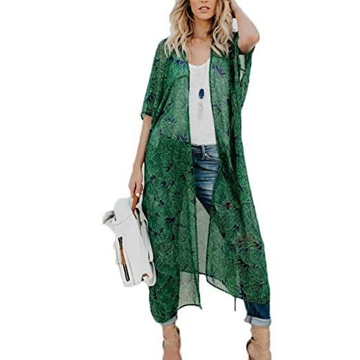 31030c72b56 Women s Chiffon Leaves Kimono Cardigan Open Front Maxi Dress with Belt  Green ...